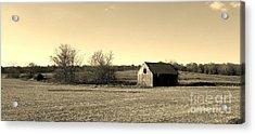 Mid Century Weathered Barn - Sepia Acrylic Print by Scott D Van Osdol