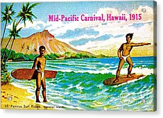 Mid Pacific Carnival Hawaii Surfing 1915 Acrylic Print by Peter Gumaer Ogden