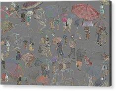 Middelkerke Umbrellas Acrylic Print by Dominique De Leeuw