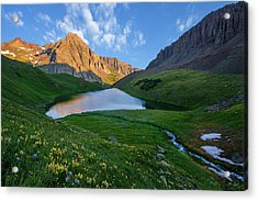 Acrylic Print featuring the photograph Middle Blue Lake Sunrise by Aaron Spong