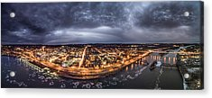 Middletown Connecticut, Twilight Panorama Acrylic Print by Petr Hejl