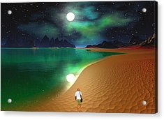 Midnight Beach Walk - Sea Of Cortezz Acrylic Print by David Jackson