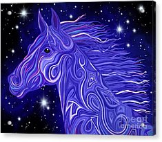Acrylic Print featuring the drawing Midnight Blue Mustang by Nick Gustafson