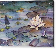 Midnight Lily Acrylic Print by Jun Jamosmos