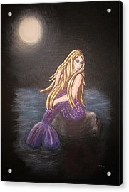 Acrylic Print featuring the painting Midnight Mermaid by Teresa Wing