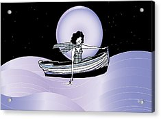 Midnight Moonlit Sail Acrylic Print by Cecely Bloom