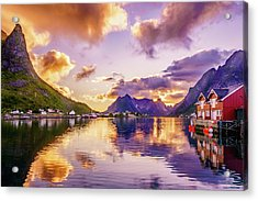 Midnight Sun Reflections In Reine Acrylic Print