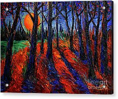 Midnight Sun Wood Acrylic Print by Mona Edulesco