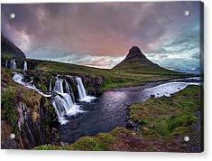 Acrylic Print featuring the photograph Midnight Sunset At Kirkjufellsfoss by Peter Thoeny