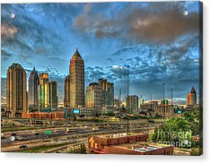 Acrylic Print featuring the photograph Midtown Atlanta Sunrise Construction Boom Art by Reid Callaway