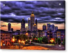 Midtown Atlanta Towers Over Atlantic Commons Acrylic Print by Reid Callaway