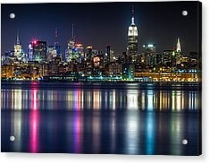 Midtown Manhattan From Jersey City At Night Acrylic Print