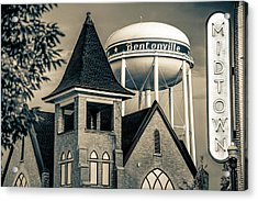 Midtown Neon On The Bentonville Arkansas Square - Sepia Acrylic Print