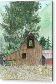 Midway Barn Colorized Acrylic Print by David King