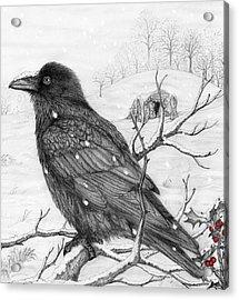 Midwinter Raven Acrylic Print by Philip Harvey
