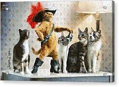 Mighty Cat With Boots - Da Acrylic Print by Leonardo Digenio