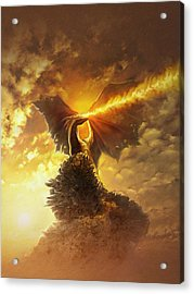Acrylic Print featuring the digital art Mighty Dragon by Uwe Jarling