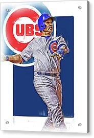 Miguel Montero Chicago Cubs Oil Art Acrylic Print by Joe Hamilton