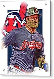 Mike Napoli Cleveland Indians Oil Art Acrylic Print by Joe Hamilton