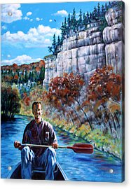 Mike On Float Trip Acrylic Print by John Lautermilch
