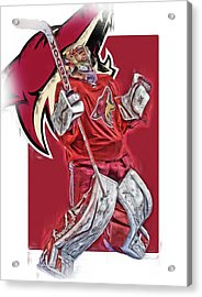 Mike Smith Arizona Coyotes Oil Art Acrylic Print by Joe Hamilton