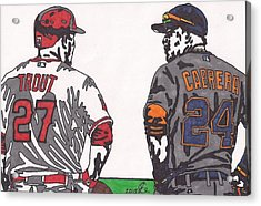 Mike Trout And Miguel Cabrera Acrylic Print by Jeremiah Colley