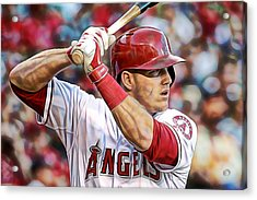 Mike Trout Baseball Acrylic Print