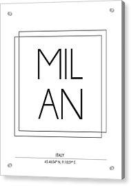 Milan City Print With Coordinates Acrylic Print