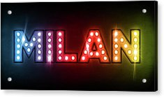 Milan In Lights Acrylic Print by Michael Tompsett