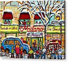 Milano Grocery Little Italy Paintings Dante Street Hockey Art Montreal Winter Scene Carole Spandau   Acrylic Print by Carole Spandau