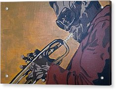 Acrylic Print featuring the painting Miles Davis by Rachel Natalie Rawlins