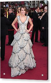 Miley Cyrus Wearing A Zuhair Murad Gown Acrylic Print by Everett