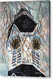 Milford Church Clock Tower Autumn Days Acrylic Print by Janine Riley