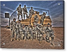 Military Police Pose For This Hdr Image Acrylic Print by Terry Moore