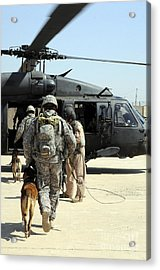 Military Working Dog Handlers Board Acrylic Print by Stocktrek Images