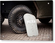 Militia Shield And Tire Of Combat Acrylic Print