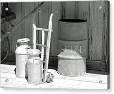 Milk Cans And Fire Barrel Acrylic Print by Troy Montemayor