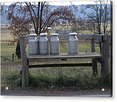 Acrylic Print featuring the photograph Milk Cans Waiting For Pickup by Jeanette Oberholtzer