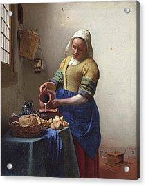 Milkmaid Acrylic Print by Jan Vermeer Van Delft