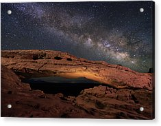 Acrylic Print featuring the photograph Milky Way Above Mesa Arch. by Johnny Adolphson