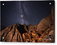 Milky Way And Petrified Logs Acrylic Print