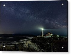 Milky Way At Portland Head Light Acrylic Print