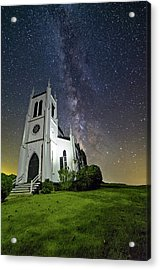 Acrylic Print featuring the photograph Milky Way Over Church by Lori Coleman