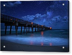 Milky Way Over Juno Beach Pier Under Moonlight Acrylic Print
