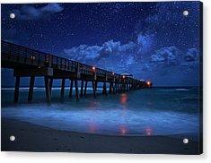 Milky Way Over Juno Beach Pier Under Moonlight Acrylic Print