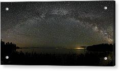 Milky Way Over Lake Michigan At Cana Island Lighthouse Acrylic Print