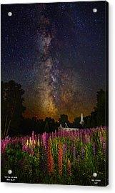 Milky Way Over Lupine Field Acrylic Print
