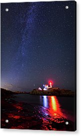 Milky Way Over The Nubble Lighthouse  Acrylic Print
