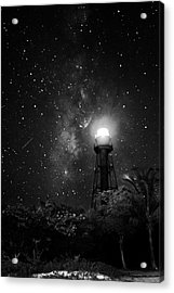 Milky Way Over The Sanibel Lighthouse In Black And White Acrylic Print