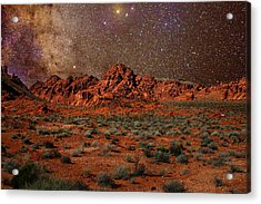 Milky Way Rising Over The Valley Of Fire Acrylic Print by Charles Warren